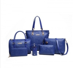 New Spring Nationality Chinese Fengzi Mother's Bag Six-piece Set Rose Single Shoulder Handbag blue one size