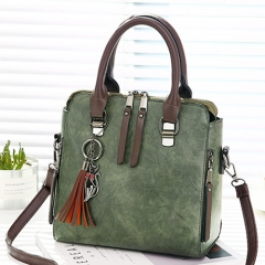 Vintage Leather Messenger bags handbags for Women Designer Shoulder Bag crossbody Boston tote bags green 24*13*24cm