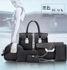 Autumn and Winter New European and American Bag One Shoulder Hand-held Span Six-piece Set Womens Bag black one size