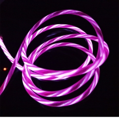 1M Luminescent Quick Charge 3.0 Cable Micro USB Cable LED Light Visible Android USB Cable for iPhone pink for iphone