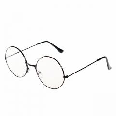 2018 New Man Women Retro Round Glasses Big Transparent Metal Frame Black Goggles Gold Plated Glasses black