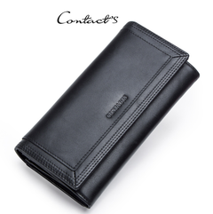 Clutch Wallets for Women Coin Purse Phone Pocket Genuine Leather Female Wallet Card Holder Money Bag black one size