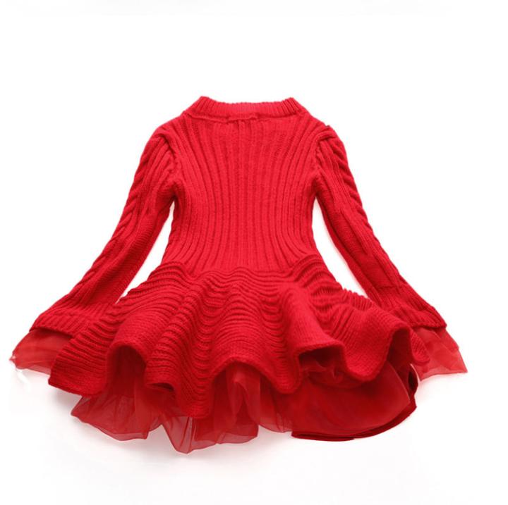 Children's Wear Knit Long Sleeve Dresses Girl Princess Organza Sweater Dress red 100