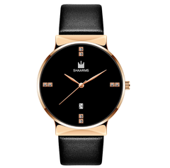 New men's quartz watches crystal leather simple trend watch wholesale calendar watches 1