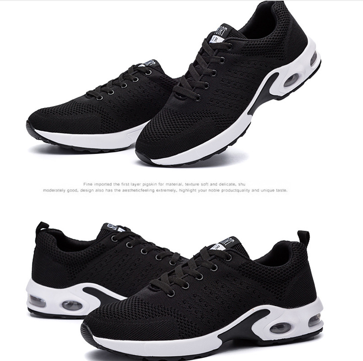 Flying woven breathable mesh shoes running shoes couple air cushion shoes Korean sports shoes black 39