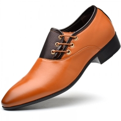 Men's  PU Leather Wedding Shoes Men Business Flat Shoes  Breathable Men Formal Office Shoes orange 38