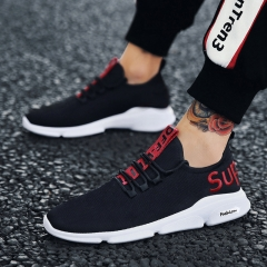 Mens fashion Sneakers  Breathable Male Casual Shoes Man Outdoor Walking  Sport  Spring autumn black & red 39