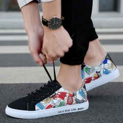 Spring Autumn Men's Casual Comfortable Shoes Classic Low Top Sports Canvas Male Breathable Sneaker colored flowers1 39