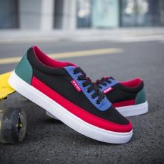 Joker leisure canvas Male Breathable cloth low upper board Sport shoes men's fashionable Sneaker black & red 39
