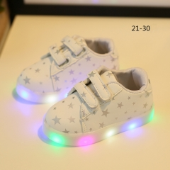Children's lamp Sports shoes boys  girls colorful LED flash fashion sneakers Toddler Shoes white 25