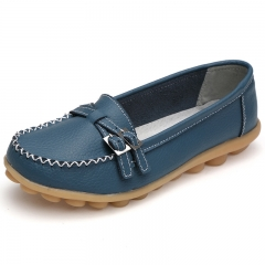 Soft bottom flat women leather shoes casual belt buckle large size Loafers Shallow Driving Shoes light blue 35