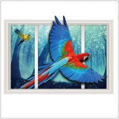 3D False Window animals Wall Sticker Bedroom Living Room Removable Home Decor Sticker color1 60x90cm