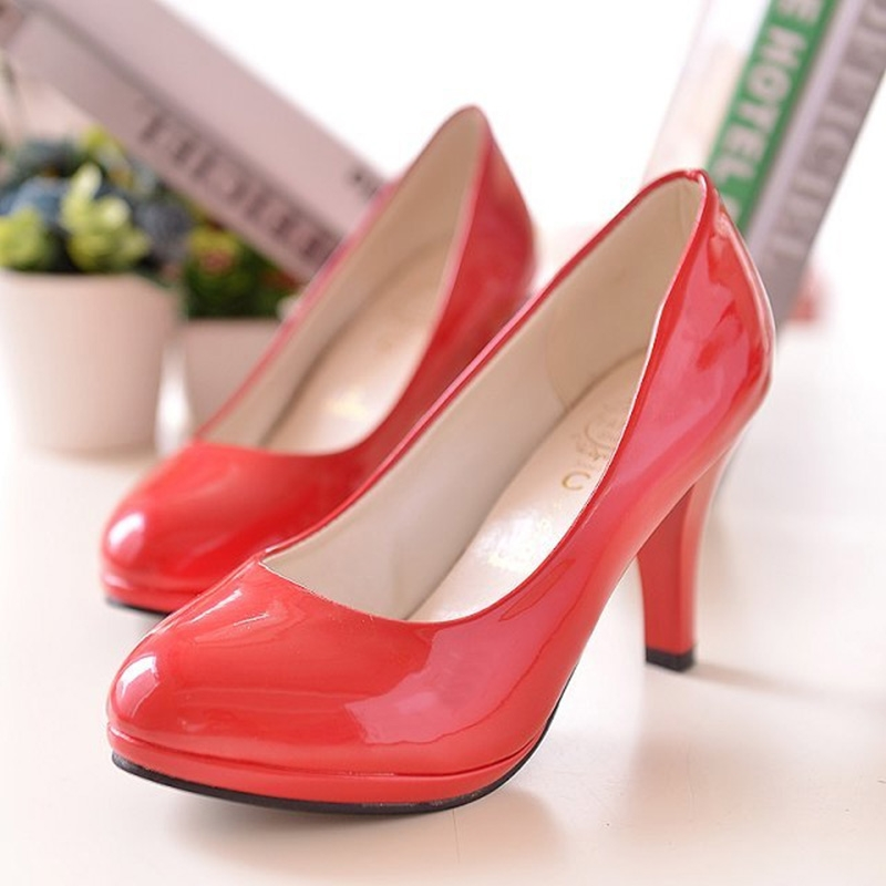 75167956689 Dress shoes female stiletto high-heeled shoes work large size 34-42 leather  shoes women red 31
