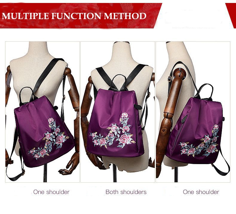 f14a7384ef3c Fashion national wind embroidered ladies backpack waterproof travel ...