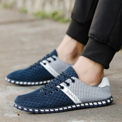 Fashion Breathable mesh shoes light Network Casual Sneakers sports loafers wild men's shoes blue 38