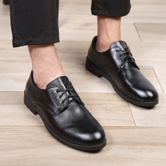Men Dress Wedding Shoes Flats Round Toe Shoes Handsome High Quality Black Brown Men Leather Shoes black 39