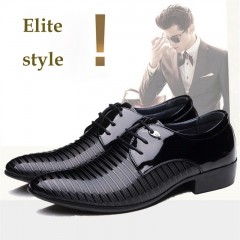 Men's dress business casual office shoes pointed youth large size 38-48 fashion leather shoes black 38