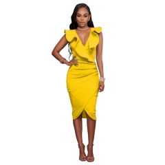 HiDook High-Waisted V-Neck Ruffled Sleeveless Bag Hip Women Middle Skirts Business Dress Pure Color yellow s