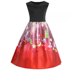 HiDook Women Christmas Sleeveless Print Long Dress Retro Big Swing Round Neck Large Size Party Skirt color1 xl