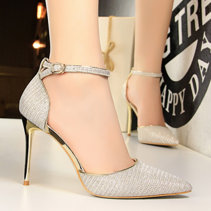 9d434c21884ee2 Women S Thin high heel Pumps Buckle Strap Pointed Toe shiny Sandals sexy  lady nightclub shoes gold