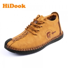 HiDook Men's Fibre Leather Handmade Large Size Business Shoes Casual Loafers for Male Soil yellow(high) 39