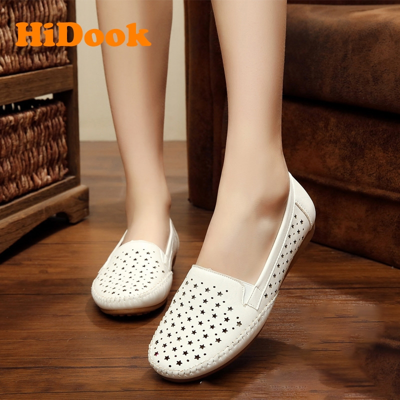 cc5f597eb661 HiDook Women Flat Soft Bottom Casual Mother Shoes Hollow Work Single ...