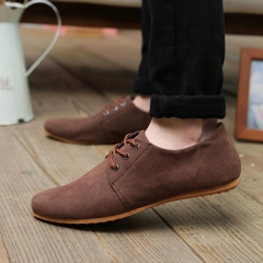 HiDook Men's British Style Retro Low Flat Casual Shoes youth Lace-up Round toe Tide Formal Shoes brown 39