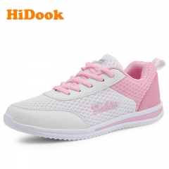 HiDook Women's Lightweight Running Casual Sports Shoes Tide Fashion Mesh Sneakers for Female white pink 35