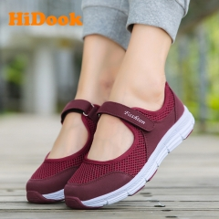 Women's Casual Sport Flats Fashion Shoes Walking Spring Summer Loafers Air Mesh Walking mother wine red 35