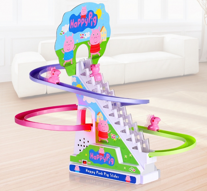 Small pig rail climbing stairs * electric large joint rail car children's intelligence toys colour 322-85