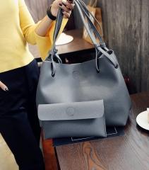 Autumn and winter Han edition size single shoulder sloping across the big bag fashion hot handbag Light grey 25*25*10