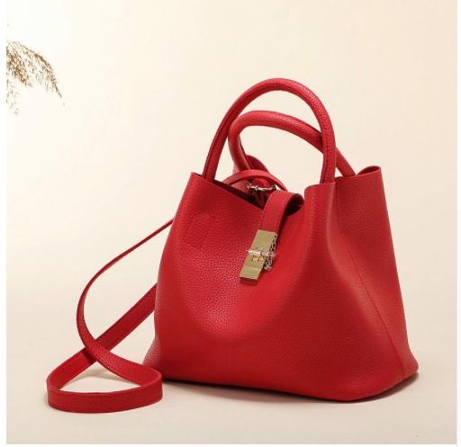 Fashionable shoulder bag handbag shoulder bag PU handbag Bucket Bag red 29*13*22