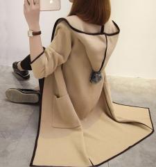 Autumn long cardigan with hat, windbreaker sweater coat Khaki M