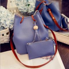 New wooden bead two sets of fashionable handbags shoulder skew spanning bag blue a
