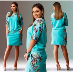plus size new round neck middle sleeve digital printing waist waist large code dress dress blue l