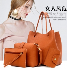 1+3 Queen of Europe Queen of fashion tide style large capacity handbag 4PCS simple shoulder bag brown a