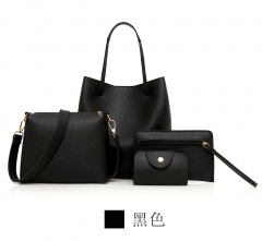 1+3 Queen of Europe Queen of fashion tide style large capacity handbag 4PCS simple shoulder bag black a