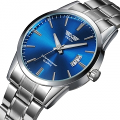 New Business Casual Steel Belt Watch Waterproof Calendar Time Watch Gift Blue Men