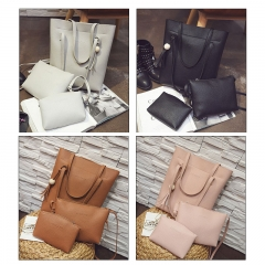 3Pcs Women Bag Litchi Pattern Bucket Wood Beads Tassel Trend Single Shoulder Bag Diagonal Clutch balck 3pcs bag set