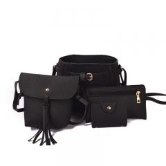 4 Piece Bag Set Bucket Tassels One Shoulder Bag Inclined HandbagPocket Bag balck 23*20*11