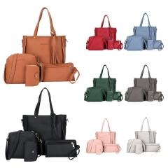 4pcs/set Fashion PU Leather Women Shoulderbag +Casual Tote + Lady Handbag +Card Coin Bags Purse dark grey 4pcs girl bags