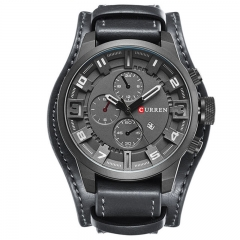 Army Military Quartz Mens Watches Top Brand Luxury Leather Men Watch Casual Sport Male Clock Watch grey and grey