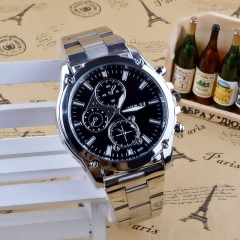 Watch Men Luxury Brand Steel Date Business Mens Watch Classic Wristwatch Casual Watches gift black