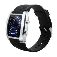 Men Smart Watch Digital Fashion LED Light Flash Turbo Speedometer Sports Car Dial Meter Watches black