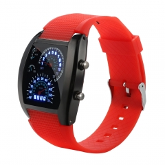 Men Smart Watch Digital Fashion LED Light Flash Turbo Speedometer Sports Car Dial Meter Watches red black