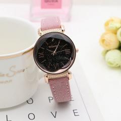 New Fashion Rose Gold Leather Watches Women Ladies Casual Dress Quartz Wristwatch Watch Woman pink