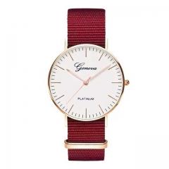 Exquisite Simple Nylon Strap Women Watches Luxury Fashion Quartz Wristwatches Woman Clock Montre red
