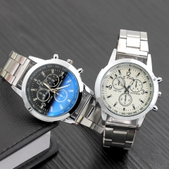 Watch Men Luxury Brand Steel Date Business Clock Mens Watch  Leather Stainless Steel Strap Watches white + Stainless Steel Strap