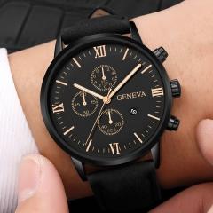 Fashion Geneva Men Date Alloy Case Synthetic Leather Analog Quartz Sport Watch Luxury Male Clock 1