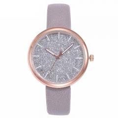 Fashion Women Romantic Starry Sky Wrist Watch Casual Rose Gold Steel Mesh Belt Rhinestone Watch grey + leather belt